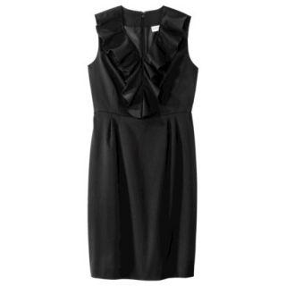 Merona Womens Twill Ruffle Neck Dress   Black   6