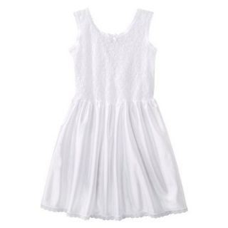Girls Lace Nylon Full Slip   White 4