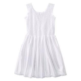 Girls Lace Nylon Full Slip   White 4