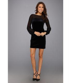 Donna Morgan Velvet Sheath w/Sheer Illusion Womens Dress (Black)
