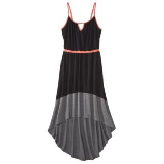 Merona Womens Knit Colorblock High Low Hem Dress   Black/Gray   XL