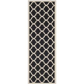 Safavieh Stain Resistant Indoor/ Outdoor Courtyard Black/ Beige Runner Rug (23 X 12)