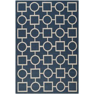 Safavieh Abstract Indoor/outdoor Courtyard Navy/beige Rug (8 X 11)