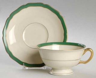 Black Knight Green Band Footed Cup & Saucer Set, Fine China Dinnerware   Mediter