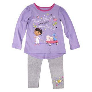 Disney Infant Toddler Girls Doc McStuffins Top and Bottom Set   Purple 3T