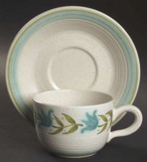 Franciscan Tulip Time Flat Cup & Saucer Set, Fine China Dinnerware   Blue/Green