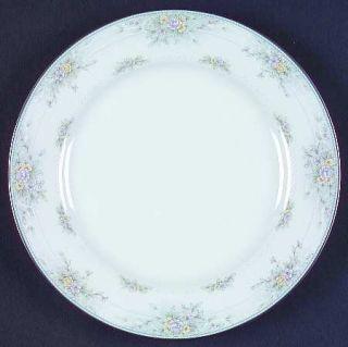 Noritake Amery Salad Plate, Fine China Dinnerware   Lavender&Yellow Flowers,Gray