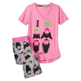 Duck Dynasty Juniors 2 Pc Pajama Set   Pink Print L