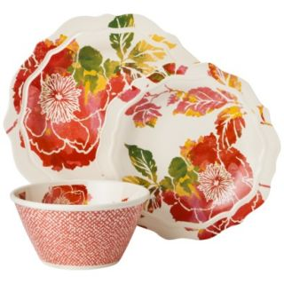 Threshold Scallop Floral Dinnerware Set of 12   Coral