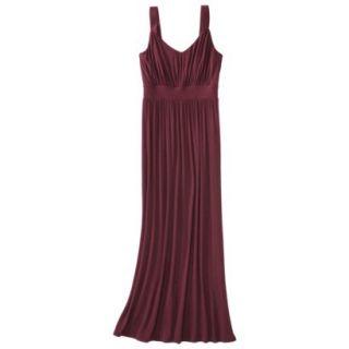 Merona Womens Knit V Neck Ruched Waist Maxi Dress   Berry Cobbler   S