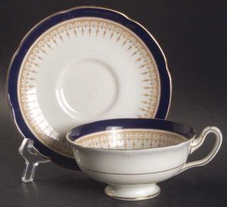 Royal Doulton Duke Of York Blue Footed Cup & Saucer Set, Fine China Dinnerware