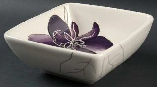 Laurie Gates Anna Plum Square Soup/Cereal Bowl, Fine China Dinnerware   Purple F