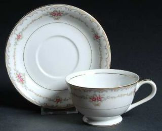 Style House Princess Footed Cup & Saucer Set, Fine China Dinnerware   Tan & Gray