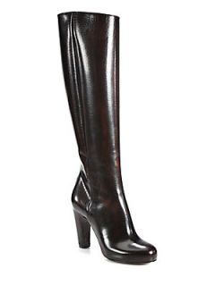 Leather Knee High Boots   Brown Rust
