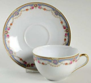 Crown China (Czech) 7143 Flat Cup & Saucer Set, Fine China Dinnerware   Blue Ban