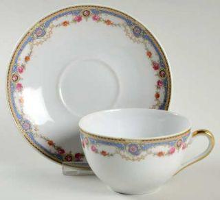 Crown China (Czech) 7143 Flat Cup & Saucer Set, Fine China Dinnerware   Blue Ban