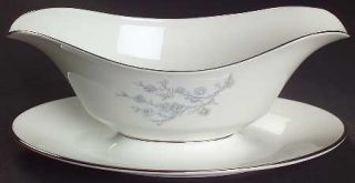 Oxford (Div of Lenox) Twilight Dell Gravy Boat with Attached Underplate, Fine Ch