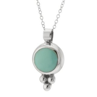 Sterling Silver Round Pendant with Chain   Turquoise (18)