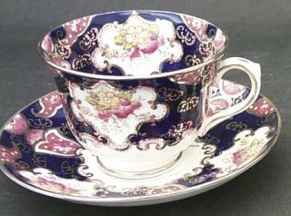 Royal Albert Heirloom (Crown China Stamp,Smooth) Footed Cup & Saucer Set, Fine C