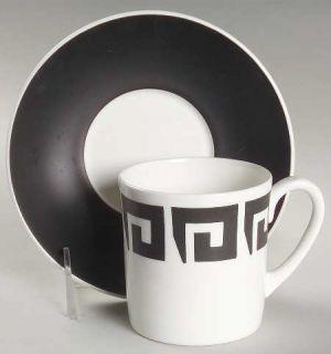 Wedgwood Black Keystone Flat Cup & Saucer Set, Fine China Dinnerware   Susie Coo