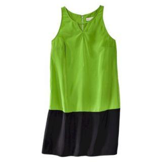 Merona Womens Colorblock Hem Shift Dress   Zuna Green/Black   16