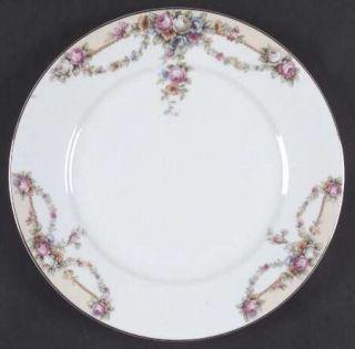 Thun Thu26 Dinner Plate, Fine China Dinnerware   Yellow Bands,Red/Blue Flowers,S