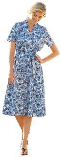 Cfo Linen/Tencel Funnelneck Floral Dress