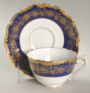 Coalport Hazelton Cobalt Blue Footed Cup & Saucer Set, Fine China Dinnerware   G