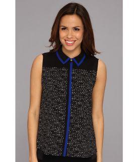 Calvin Klein S/L Button Down Color Block Dot Pattern Womens Blouse (Black)