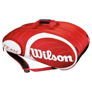 Wilson Team 12 Pack Tennis Bag Red and White