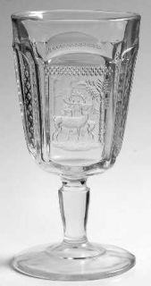 McKee Deer And Pine Tree Water Goblet   Pressed Glass, Deer  Pine Tree Design