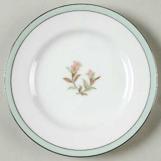 Jyoto Roberta Bread & Butter Plate, Fine China Dinnerware   Green Band,Floral Ce