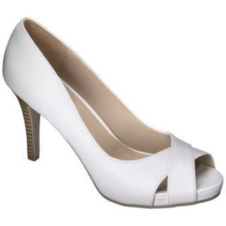 Womens Xhilaration Angela Peep Toe Pump   White 10