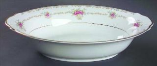 Style House Princess 10 Oval Vegetable Bowl, Fine China Dinnerware   Tan & Gray