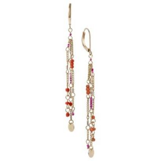 Womens Three Strand Beaded and Metal Linear Drop Earring   Pink/Orange/Gold