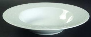 Crate & Barrel Water Music Large Rim Soup Bowl, Fine China Dinnerware   All Whit