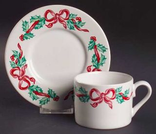 International Christmas Ribbons Flat Cup & Saucer Set, Fine China Dinnerware   H