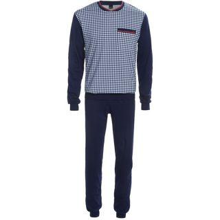 Calida Family Time Cuffed Pajamas   Crew Neck  Long Sleeve (For Men)   DARK BLUE (S )
