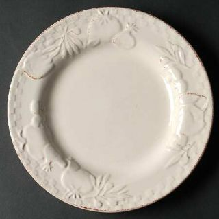 Signature Home Grown Lite Dinner Plate, Fine China Dinnerware   White Wash,Embos