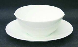 Noritake Angela White Gravy Boat with Attached Underplate, Fine China Dinnerware