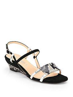 Aquatalia by Marvin K Napoli Snake Print Leather Wedge Sandals   Black