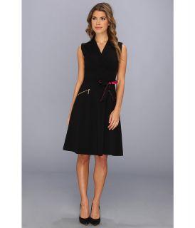 Calvin Klein Aline Shirt Dress w/ Tie Belt Womens Dress (Black)