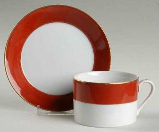 Sigma King David Flat Cup & Saucer Set, Fine China Dinnerware   Red Rim,White Ce