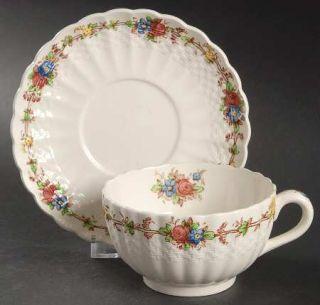 Spode Hazel Dell (Cream) Footed Cup & Saucer Set, Fine China Dinnerware   Cream,