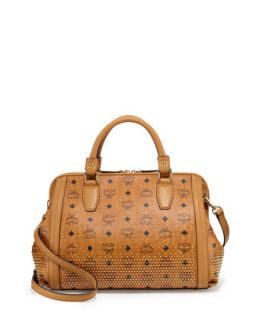 Visetos Medium Boston Satchel Bag, Cognac   MCM