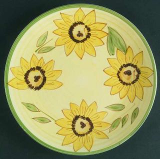 Essential Home Sunflower Poise Dinner Plate, Fine China Dinnerware   Yellow Flow