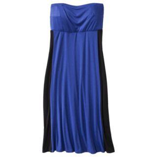 Pure Energy Womens Plus Size Strapless Maxi Dress   Blue/Black 4X