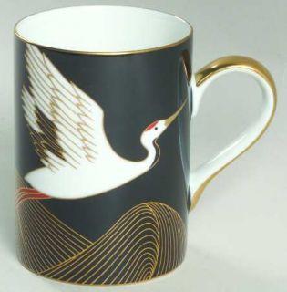 Fitz & Floyd Night Flight Mug, Fine China Dinnerware   White/Gold Crane On Black