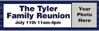 Family Reunion Personalized Photo Vinyl Banner    60 x 180 Inches, Blue, Grey, White