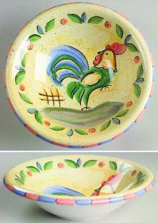 Bella Rooster Coupe Soup Bowl, Fine China Dinnerware   Peach&Blue Edge,Green&Blu